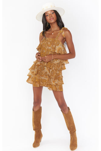 Rowen Ruffle Dress in Golden