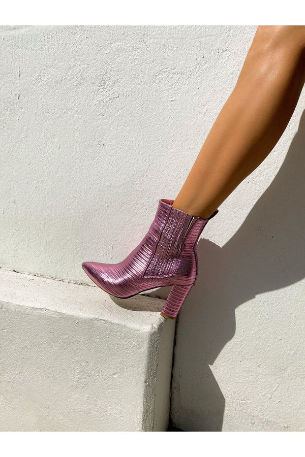 Hemline Exclusive Billini Pink Croc Boot
