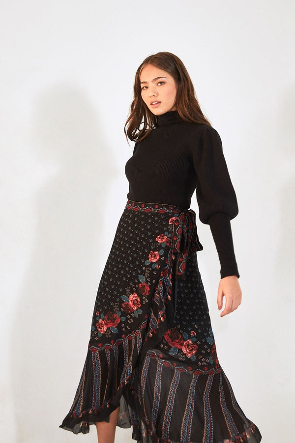 Embroidered Floral Wrap Skirt
