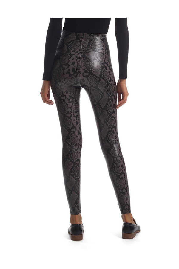 Faux Leather Animal Leggings in Grey Snakes