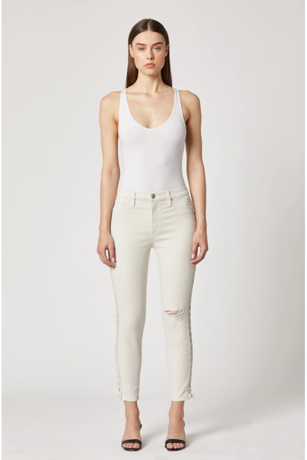 Barbara High-Rise Skinny Crop Jean in Worn Out Bone