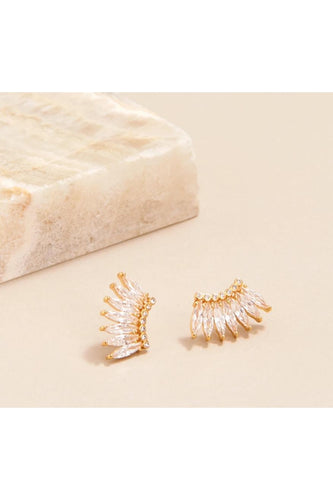Petite Crystal Madeline Studs in Clear and Gold