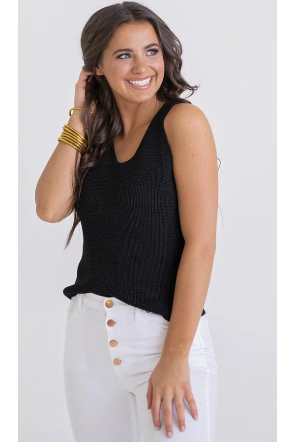 Solid Sweater Tank in Black