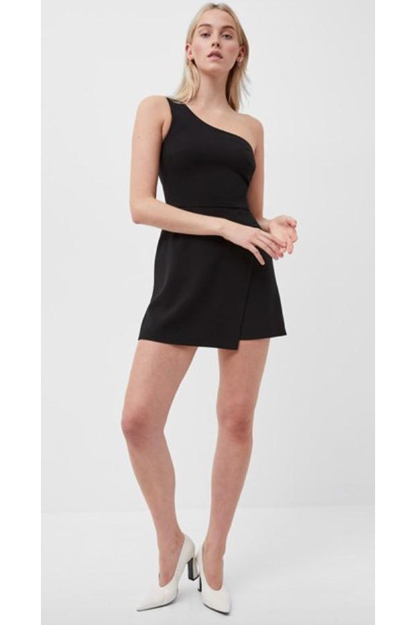 Whisper One Shoulder Envelope Skirt Dress in Black