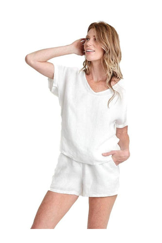 Valerie White Linen V-Neck Top