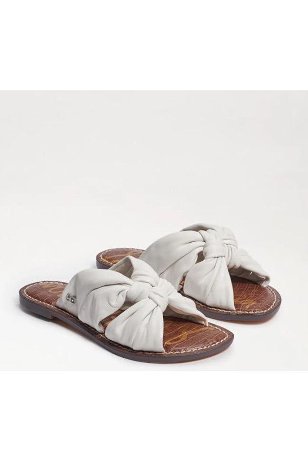Garson Knotted Slide Sandal in White