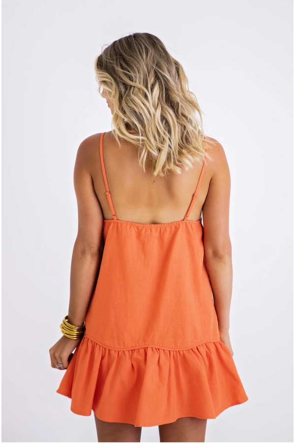 Linen Cami Ruffle Dress in Orange