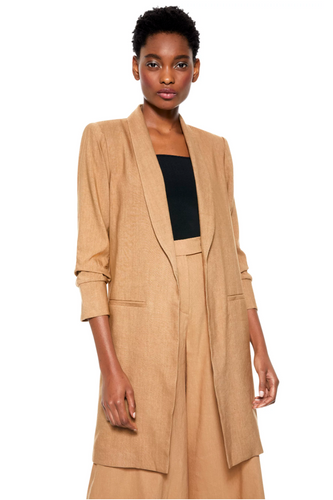 Muriel Scrunched Slit Sleeve Coat in Tan