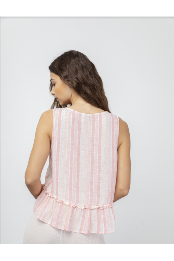 Mira Top in Apricot Stripe