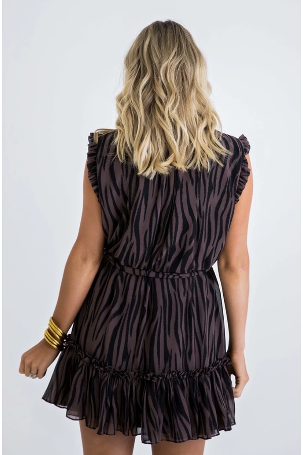 Zebra Ruffle Sleeveless Dress