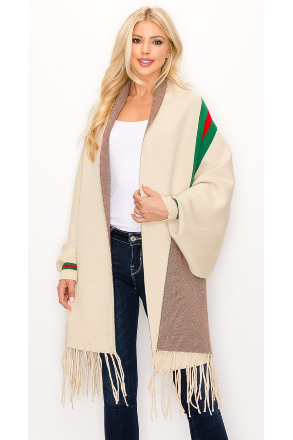 Poncho with Tassel (Multiple Colors)