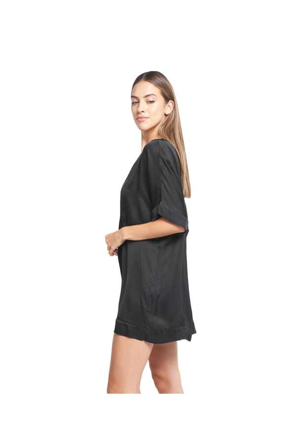 Carmela Satin Tunic in Black
