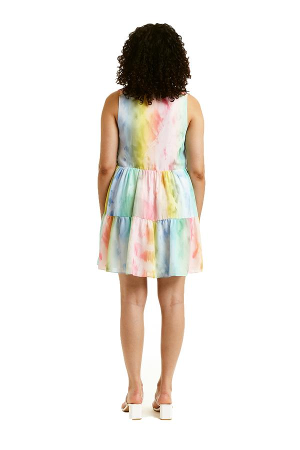Sleeveless Saffron Dress in Rainbow Tie-Dye