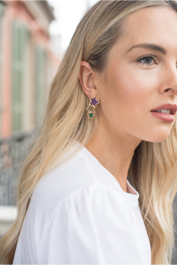 Hemline Exclusive Mardi Gras Star Earrings - HEMLINE