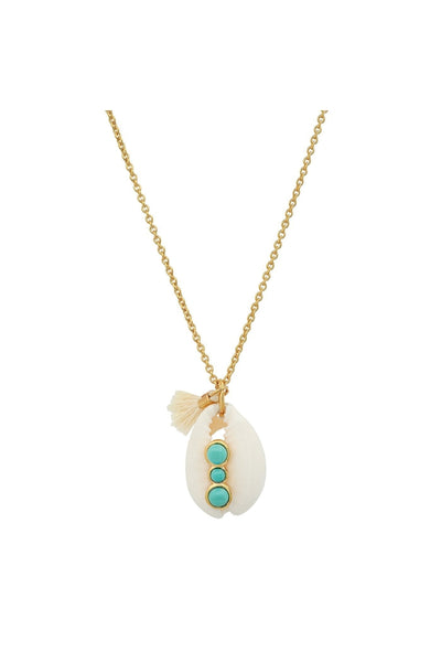 Cowrie Shell Necklace with Bezel Set Turquoise Stone and Tassel Charm - HEMLINE