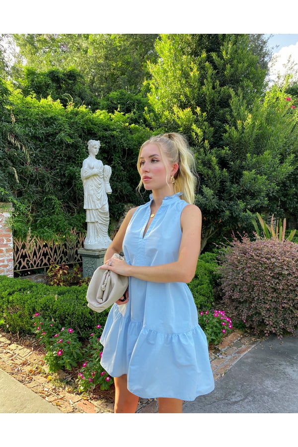 Hemline Exclusive Sleeveless Saffron Mini Dress in Baby Blue