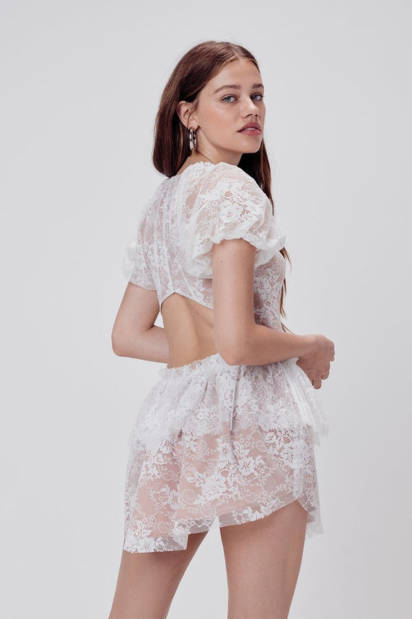 Load image into Gallery viewer, Verbena Lace Tiered Mini Dress
