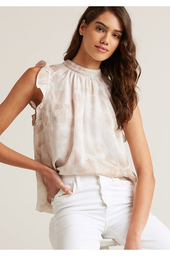 Mock Neck Ruffle Top in Safari Khaki