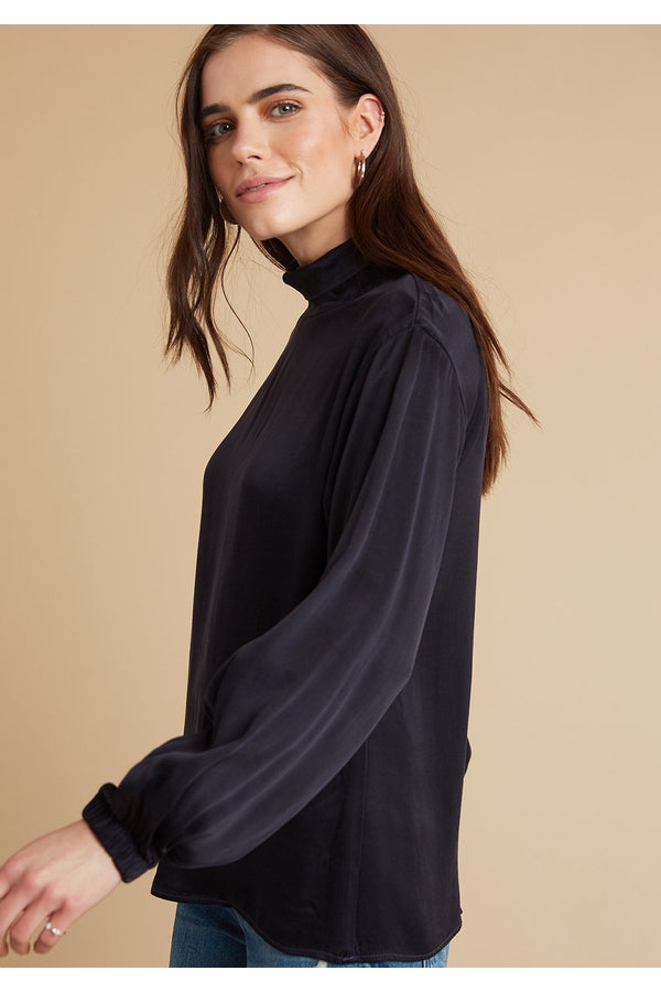 Draped Turtle Neck Top in Eggplant