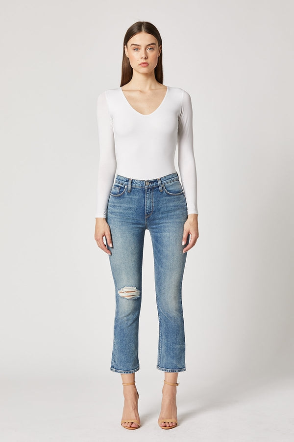 Holly High-Rise Crop Bootcut Jean in Planetoid