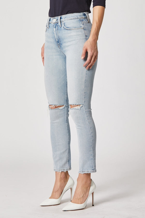 Holly High Rise Straight Crop Jean in Destructed Wash Out - HEMLINE