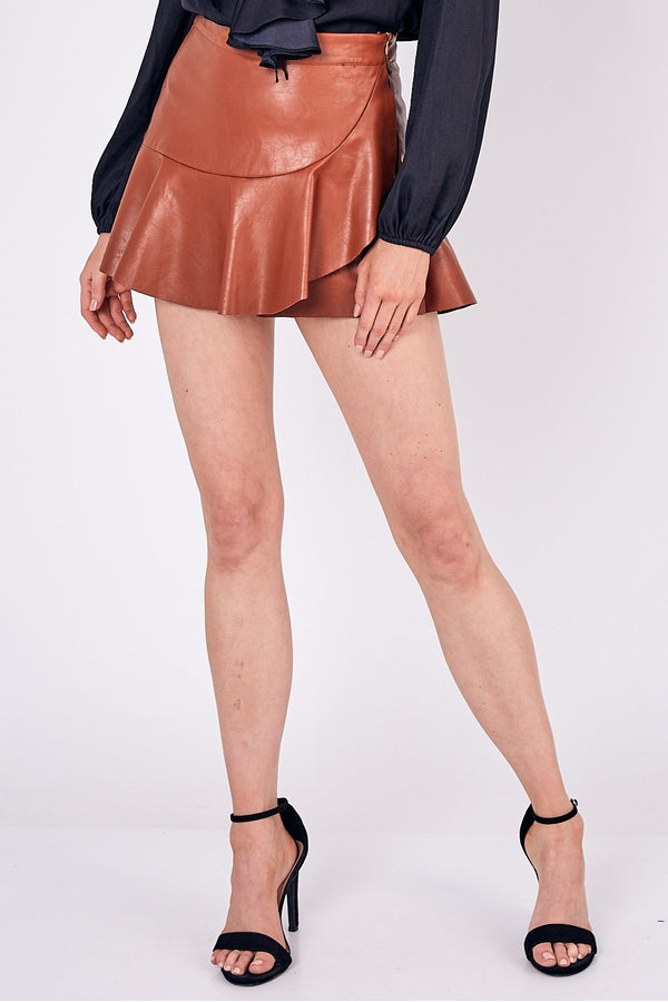 Leather Ruffle Mini Skort in Caramel