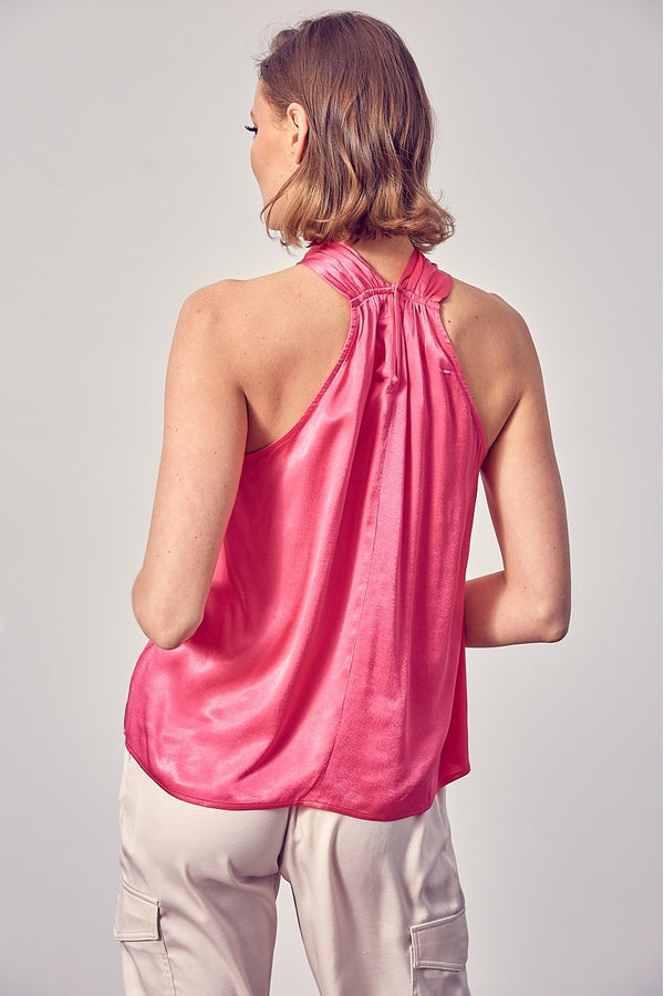 Short Sleeve Front Detail Top in Hot Pink
