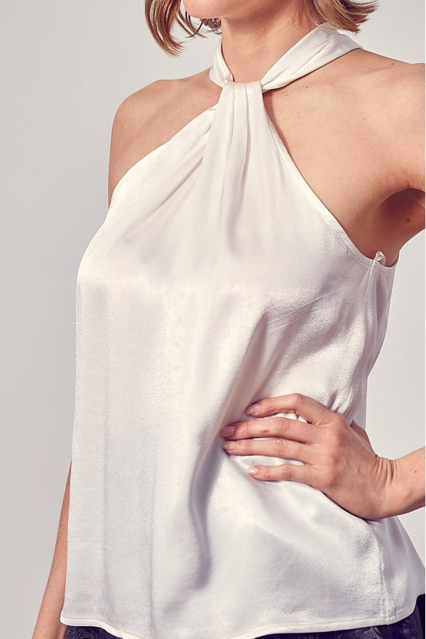 Short Sleeve Front Detail Top in White