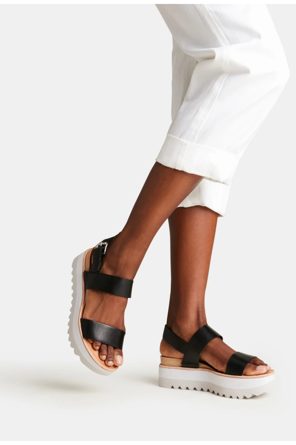Moxie Sandal in Black Leather