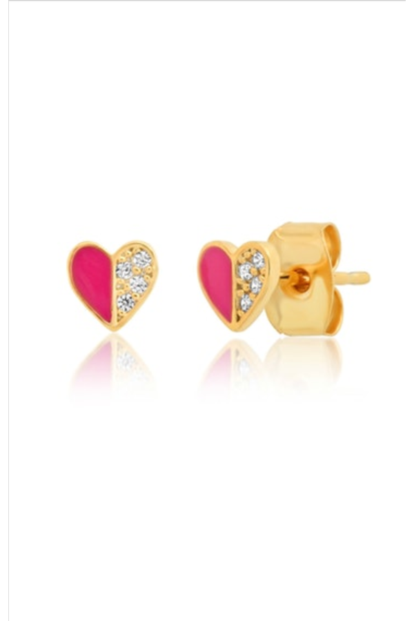 Heart Enamel Studs with Pave Accidents
