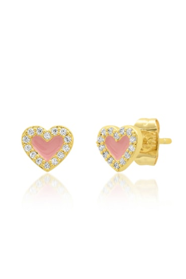 Pink Enamel Studs with Halo
