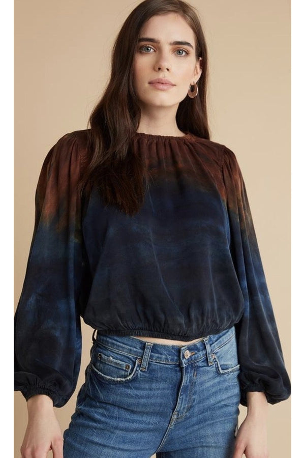 Elastic Shirred Top in Autumn Sky