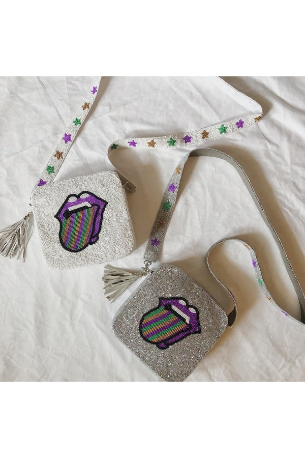 Load image into Gallery viewer, Hemline EXCLUSIVE Rolling Stones Mardi Gras Cross-Body White with Stars - HEMLINE