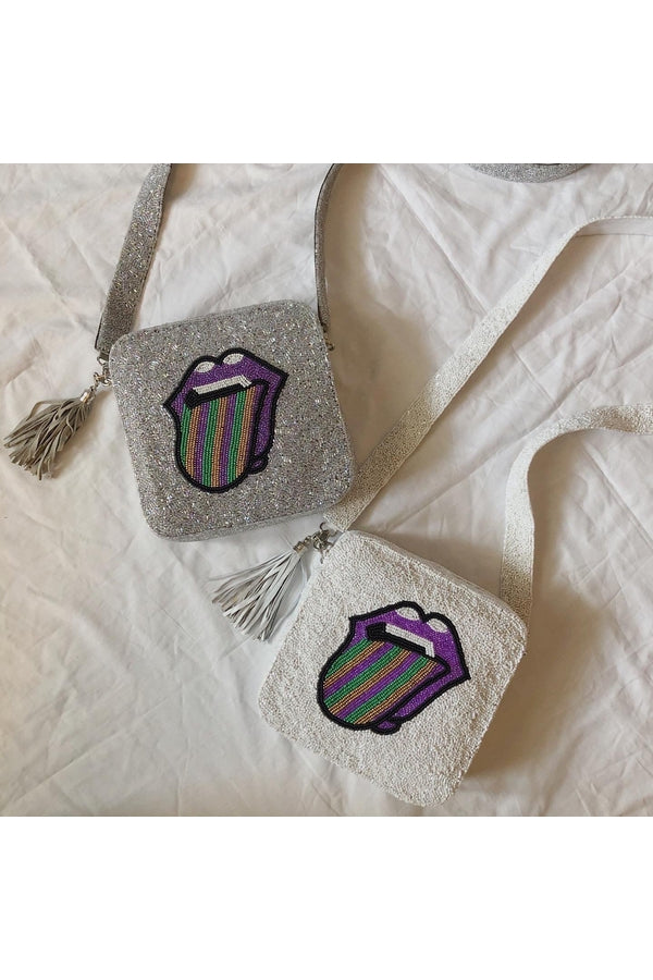 Load image into Gallery viewer, Hemline EXCLUSIVE Rolling Stones Mardi Gras Cross-body White - HEMLINE