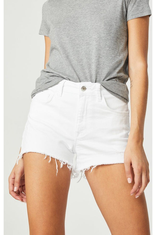 Rosie Shorts in White Ripped Stretch