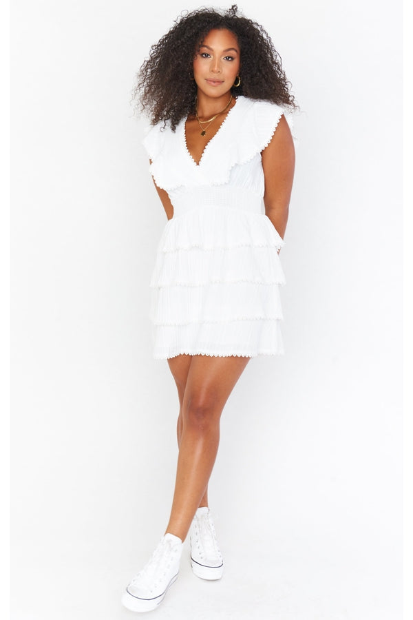 Sweet Ruffle Mini Dress in White