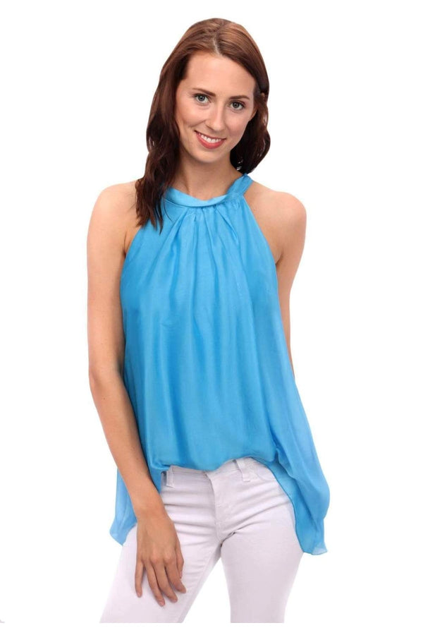 Sky A-Line Sleevless Top in Blue