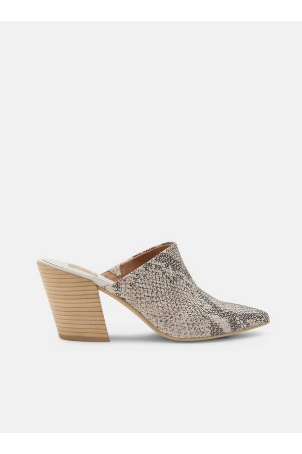 Angela Mules in Snake Print Embossed Leather