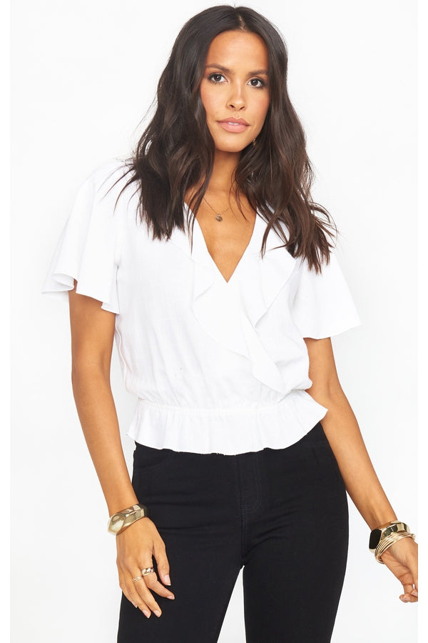 Audrina Top in White Linen