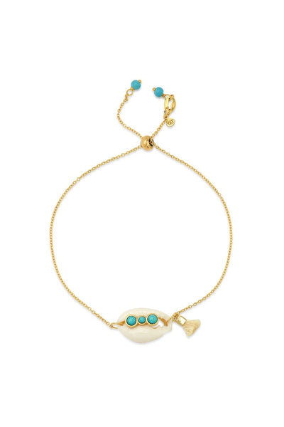 Adjustable Cowrie Shell Chain Bracelet with Turquoise Accents - HEMLINE