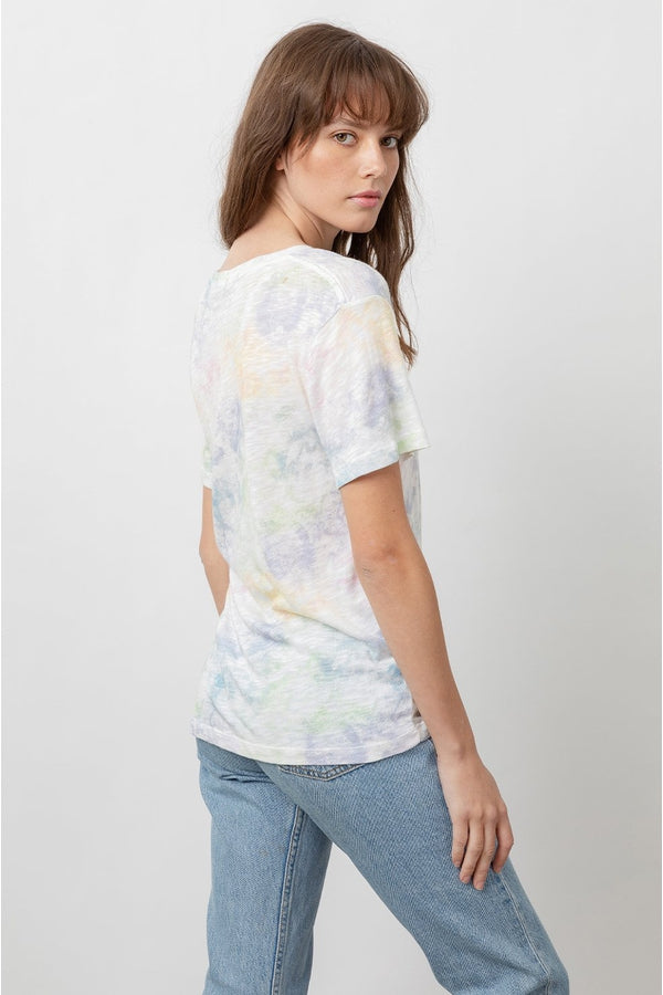 The Cara V Neck in Rainbow Tie Dye