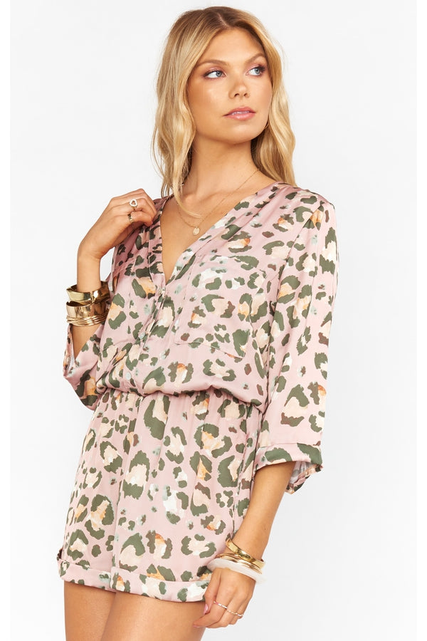 Walker Romper in Pink Cheetah