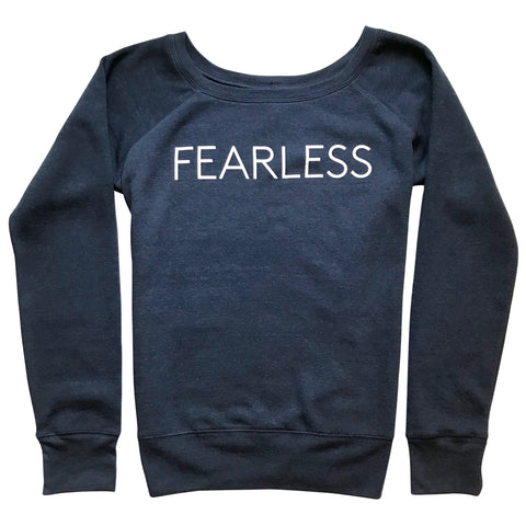 Five Faves F-Word-Tee Sweatshirt Fearless Navy Blue Front