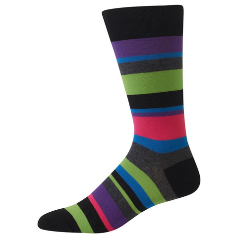 Bold Stripe Socks, Mens, Hot Sox