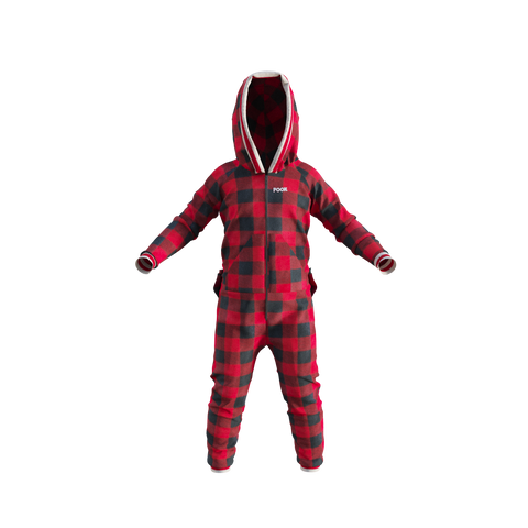 Youth Plaid Onesie - Red
