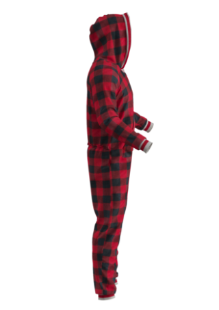 Adult Plaid Onesie - Red