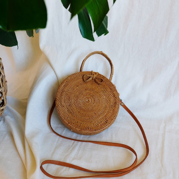 EMMA Rattan cross body bag with handle