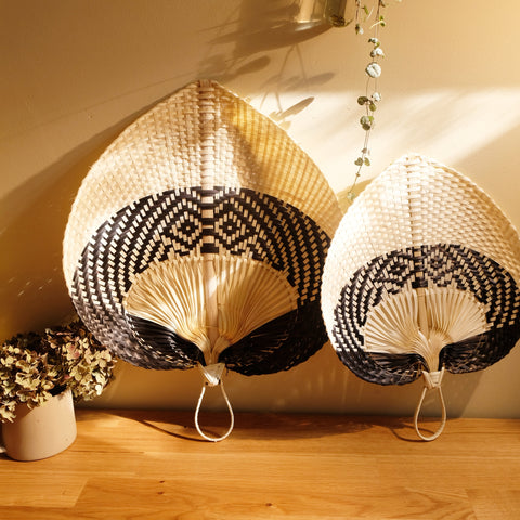 Handwoven Straw Fan - black and white