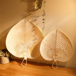 Handwoven Straw Fan - White
