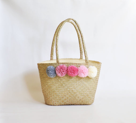 Large Seagrass Pompom Tote bag